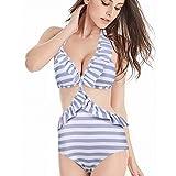 73484c11ce70b High Waisted Swimsuits for Women Ruffle Polka Dot Push Up Halter Strap  Bikini Sets