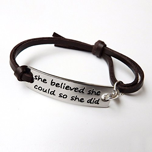 ALoveSoul She Believed She Could So She Did Handmade Braided Inspirational Leather Bracelet