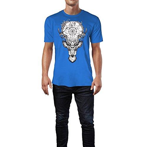 SINUS ART ® Hirschkopf mit Traumfänger Herren T-Shirts in Blau Fun Shirt mit tollen Aufdruck