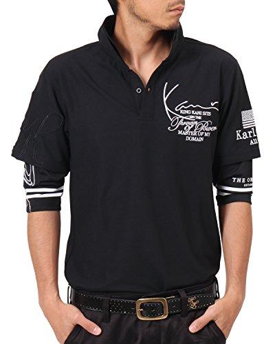 カールカナイゴルフ KARL KANI GOLF 半袖シャツ?ポロシャツ 6分袖フェイクレイヤードポリ鹿の子ポロシャツ ブラック M