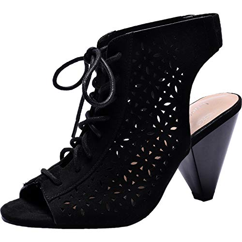 Women's Wide Width Heeled Sandals -Lace up Open Toe Cone Heel Suede Boots Summer Shoes.(180327,Black,11) ()