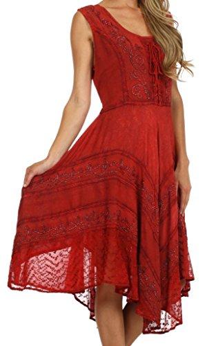 Sakkas 123 Sundara Stonewashed Rayon Mid Length Dress - Red - 1X/2X