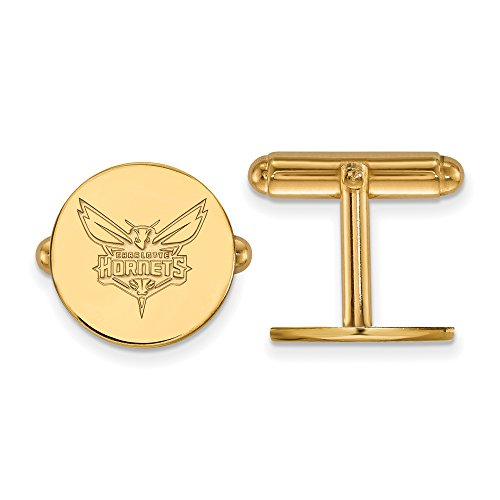 NBA 14k Yellow Gold Plated Sterling Silver Charlotte Hornets Cuff Links by LogoArt
