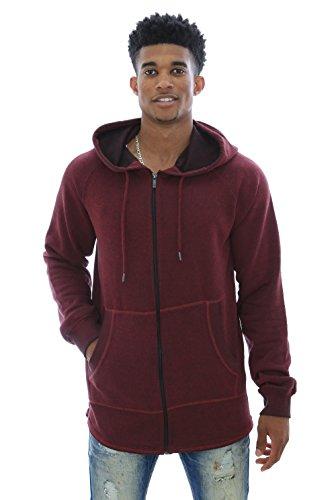 Akademiks Men's Courtland Black Out Zip Up Fleece Hoodie Sweatshirt-Wine-L