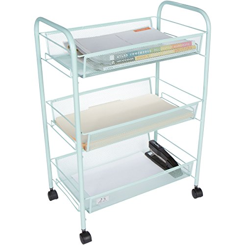 Three Tier Trolleys (3 Tier Utility Cart, Kitchen Storage with Rolling Wheel, Metal Mesh Wire Basket Trolley, Mint)