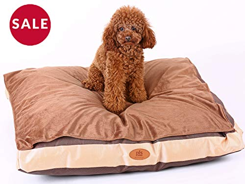 PLS Pet   Bed Duvet Brown (Medium 24Wx30L)  Removable Covers  Removable Top Fleece Cover Easy Clean For Crates or Outdoor Use Extra Plush and Thick