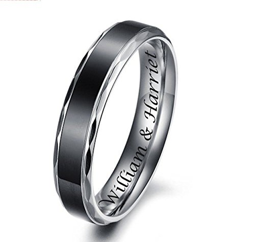 (Personalized Black Band Scalloped Edge Stainless Steel Couple's Ring Set Custom Engraved)