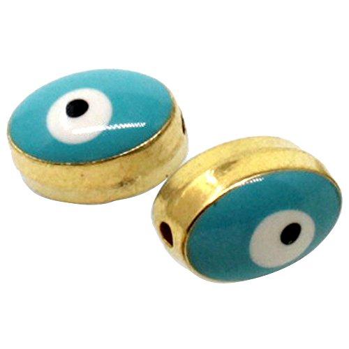 Tevida Loose Oval Evil Eye Beads DIY for Earring Necklace Jewelry Making Accessories Finding Enamel 2 Side Evil Eye Pattern 30pcs (Gold Turquoise) Enamel Evil Eye