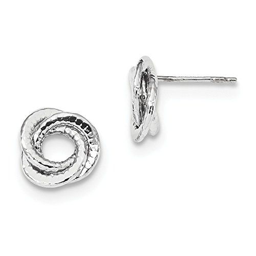 14kt White Gold Textured Polished Love Knot Post Earrings by Perfume4All