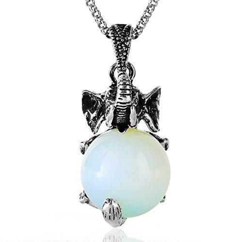 JewelrieShop Healing Chakra Gemstone Crystal Retro Vintage Elephant Charm Pendant Necklace, Stainless Steel ()