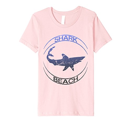 unisex-child Shark Beach Distressed Vintage Look Shark T Shirt 4 Pink