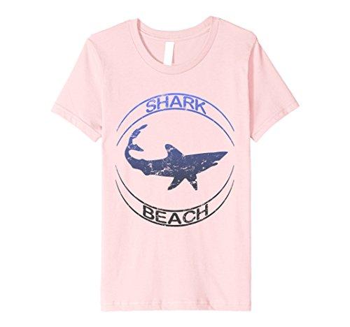 unisex-child Shark Beach Distressed Vintage Look Shark T Shirt 4 Pink