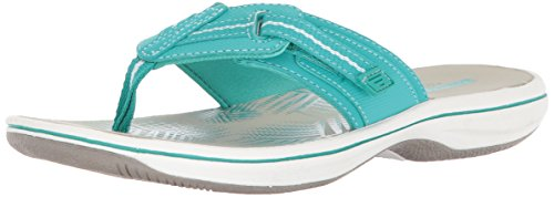 Clarks Women's Brinkley Jazz Flip Flop Aqua Synthetic cheap sale low shipping outlet visit 5bUUn