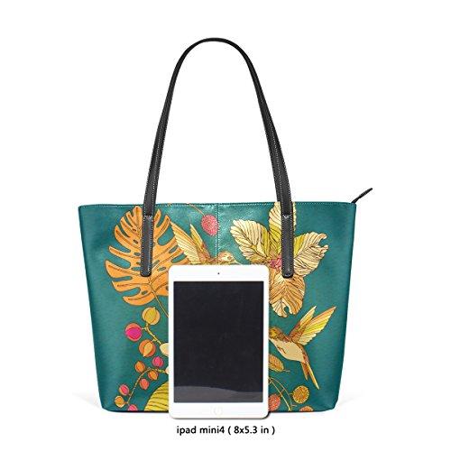 COOSUN Sommer Kolibris Elemente PU Leder Schultertasche Handtasche und Handtaschen Tasche für Frauen