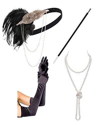 Black Gold Headbpiece Vintage 1920S Headband Flapper Great Gatsby  Champagne And Black Set