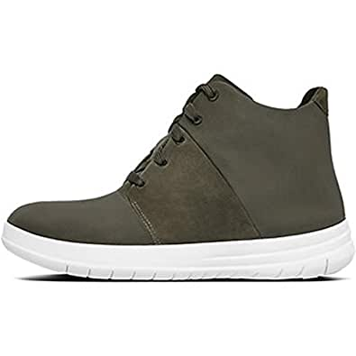 FitFlop Womens Sporty-Pop X High-Top Sneakers,Dark Olive,5