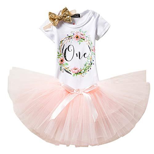 NNJXD baby meisje 1e verjaardag kleding sets 3 stuks eenhoorn hoofdband en rok romper C3 12 maanden