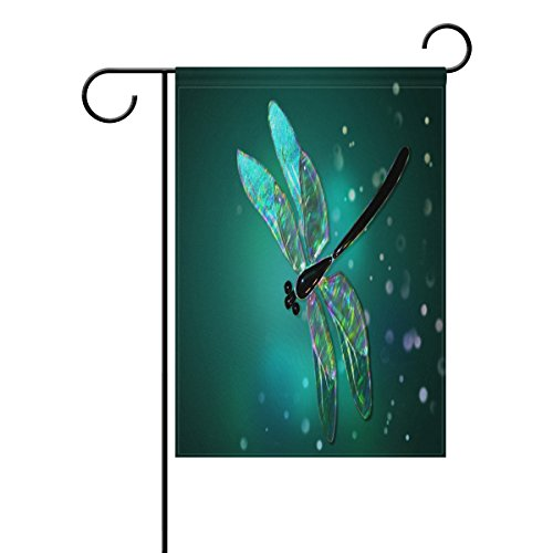 ALAZA Fantasy Spring Dragonfly Polyester Garden Flag House Banner 28 x 40 inch, Two Sided Welcome Yard Decoration Flag for Wedding Party Home Decor