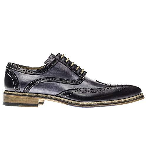 Jose Real Shoes   Mens Oxford Genuine Italian Leather   Black EU 43