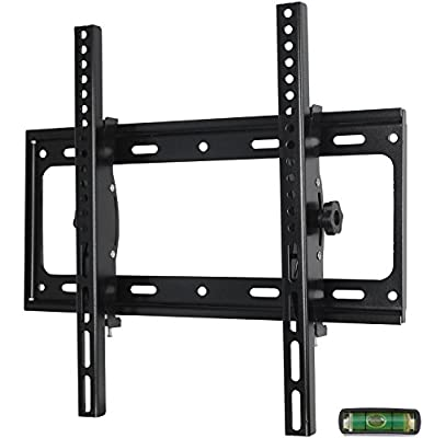 "Low Profile Fixed TV Wall Mount Bracket for 26-55"" Samsung Sony Vizio LG Sharp LED LCD OLED Plasma Flat Screen TVs with VESA 400x400mm, 110lbs Capacity, Includes Bubble Level"