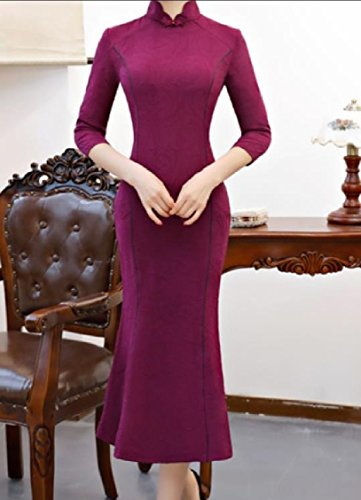 Dresses Women Purple Wedding Coolred Stand Mermaid Collar Party Dress Cheongsam up gx7qxB4z