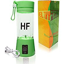 Healthy Fusion USB Rechargeable Personal Fruit Blender, Portable Juicer & Mixer (Green)
