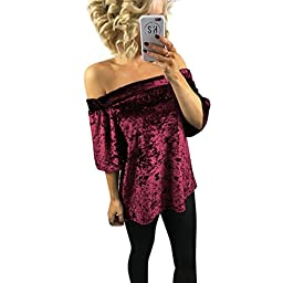 Sinfu Womens Velvet Shirt Sleeve Casual T Shirt Off Shoulder Pullover Blouse Tops (US Size:6, Wine Red)