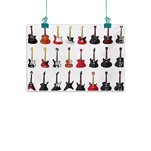 Balboa Instruments - Frameless Decorative Painting Guitar Musical Instruments Set Pattern with Various Acoustic Bass Making Music Decorations Home Decor W31 xL24 Vermilion Black White