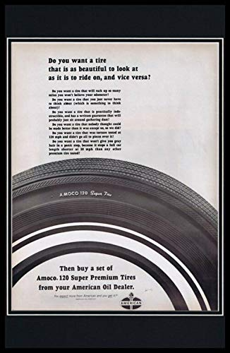 1965 Amoco 120 Super Tires Framed 11x17 ORIGINAL Vintage Advertising Poster