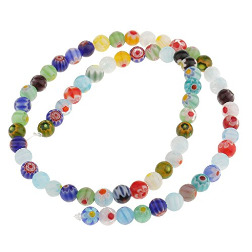 (Jili Online Mixed Spacer Loose Glass Beads Lampwork Millefiori Round Flower for Jewelry Bracelet Necklace Earring Making - Multicolor, 6 mm)