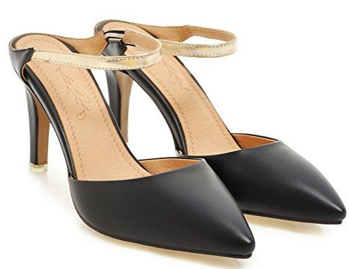 Stiletto Noir Femme on Soirée Pointue Simple Chaussure Mules Slip Easemax Oz4wYqw