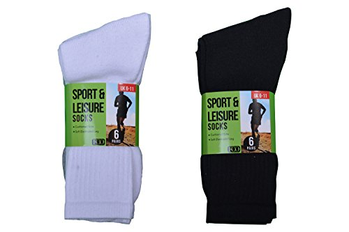 Men's Sport Socks Leisure 12 Pairs Cotton Rich Cushioned Sole Outdoor Socks Size 6-11