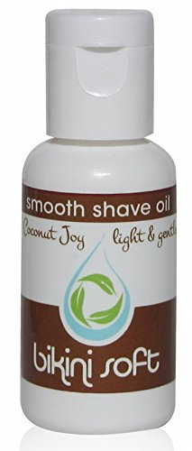 BIKINI SOFT Smooth Shave Oil (1 oz) Lovely Coconut Joy Scent - SMOOTHEST SHAVE EVER on Legs, Underarms, Bikini Line & Intimate Areas: Stops Ingrown Hairs, Razor Bumps & Razor Burn- FOR SENSITIVE SKIN