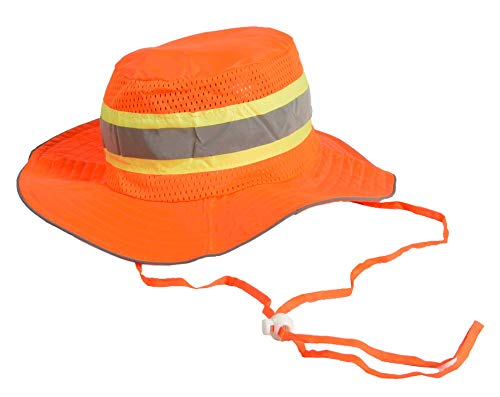 Ironwear 1271-O Booney Hat with adjustable neck strap, LG/XL, Orange