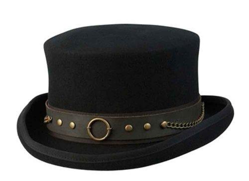 Cov-ver Hats, Australian Wool Steam-Punk Top Hat With Brass Rings, Black, Medium ()