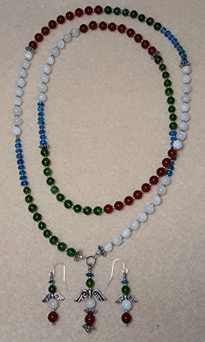 Mala - Green Garnet, Neon Blue Apatite, Moonstone, Carnelian. Matching earrings.