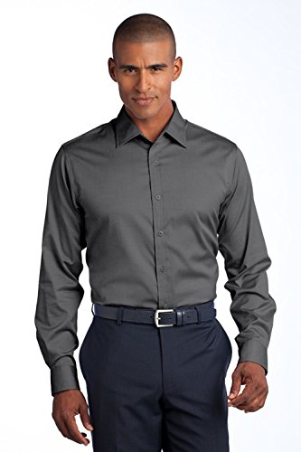 Red House Men's Slim Fit Non Iron Pinpoint Oxford S Charcoal