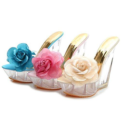 À Femme Chaussons Yeshi Clair Beige Chaussures Pompes Cales Fleur Talons Sandales Hauts Ouvert Orteils nPadxF0a