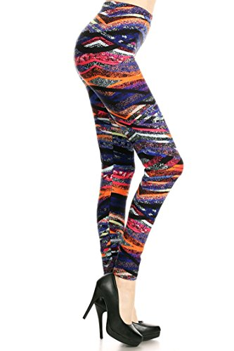 Leggings Mania Women's Plus Geo Stripe Print High Waist Leggings Purple Orange, Plus One Size Fits Most (12-22), Geo Stripe by Leggings Mania (Image #1)