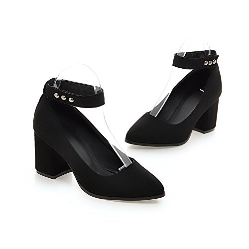 AllhqFashion Womens Frosted Hook and Loop Pointed Closed Toe High Heels Solid Pumps-Shoes Black rBhJRRF9o