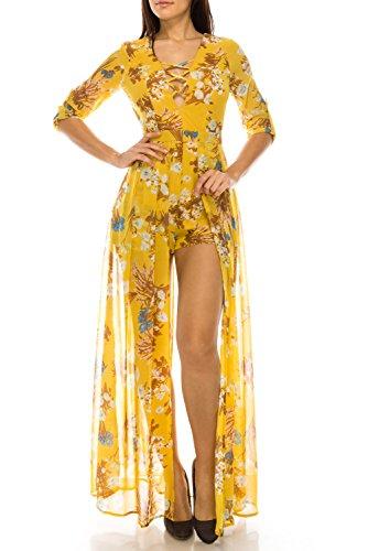 StyleEvery1 Womens Sexy 3/4 Sleeve Deep V Crisscross Neck Maxi Skirt Overlay Floral Printed Romper Dress,Mustard Print,Large Petite