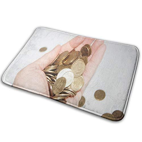 SHNUFHBD Coin Money in Hand Doormat Coral Velvet Unique Shower Home Interior Exterior Floor Rug Door Mat