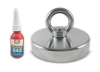 """500LBS Pulling Force, Brute Magnetics Round Neodymium Fishing Magnet with Countersunk Hole and Eyebolt, 3.54"""" Diameter - Includes Threadlocker"""