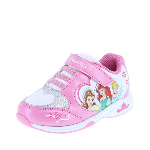 Disney Princess Girl's Pink White Girls' Toddler Princess Light-Up Runner Toddler Size 5 Regular (Disney Shoes Baby Size 5)