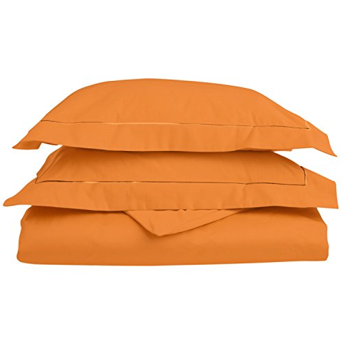 Superior 800 Thread Count Egyptian Cotton, Single Ply, Embroidered Duvet Cover Set, Cal King, Pumpkin, King/California King