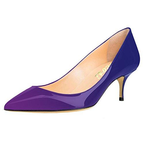 VOCOSI Women's Closed Pointed Toe Low Kitten Heel Wedding Party Dress Pumps P-Bule-Purple 10 US