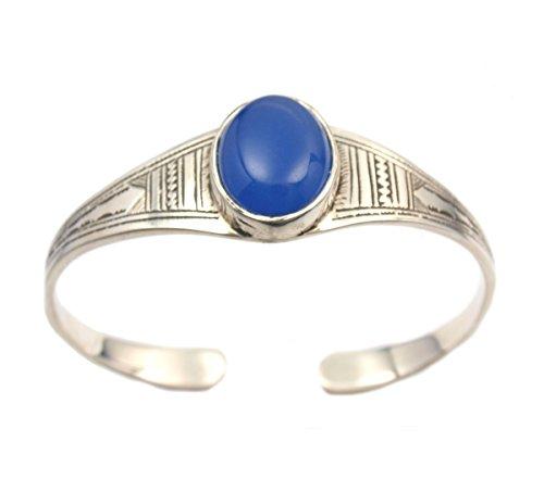 Gros Bracelet rigide touareg en argent gravé et medaillon en agate bleue