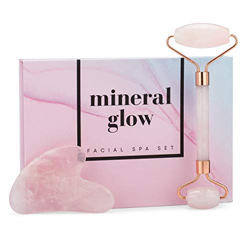 - Mineral Glow Pink Jade Roller and Gua Sha Tool for Under Eye, Face, Neck, Body | Premium 100% Real Rose Quartz Beauty Facial Skins Massager for Slimming & Firming | Soothing Stone Massage Set