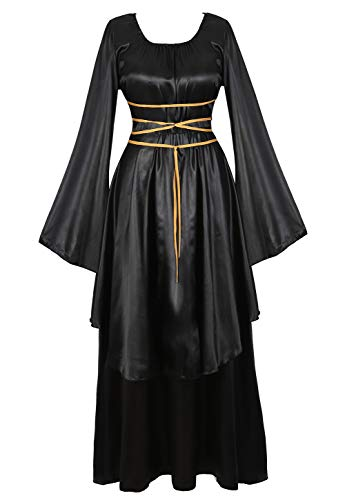 Women's Renaissance Costume Medieval Dress Cosplay Costumes Vintage Floor Length Irish Over Long Dresses Black S]()