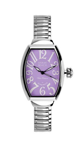 Glam Rock Art Deco Collection Women's Quartz Watch with Purple Dial Analogue Display and Silver Stainless Steel Bracelet 0.96.3012